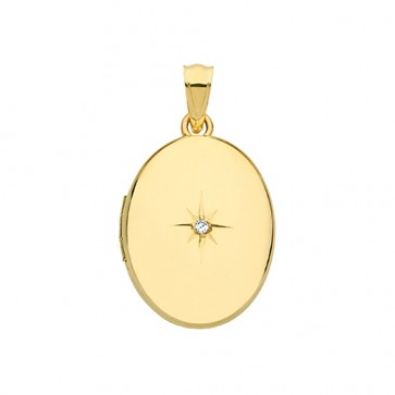 Men's 9ct Gold Oval Single Diamond Star Locket On A Curb Necklace