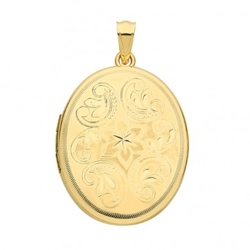 Children's 9ct Gold Flower Engraved Edge Oval Locket On A Prince of Wales Necklace