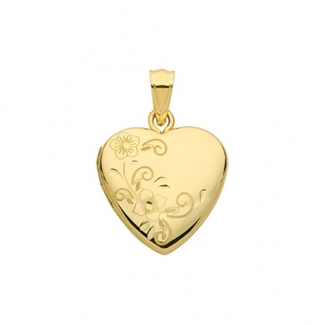 Children's 9ct Gold Half Engraved Flower Heart Locket On A Prince of Wales Necklace