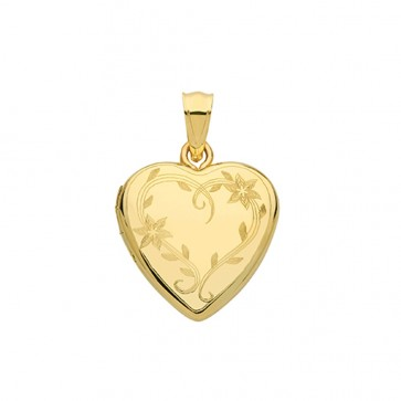 Children's 9ct Gold Flower Engraved Heart Locket On A Prince of Wales Necklace