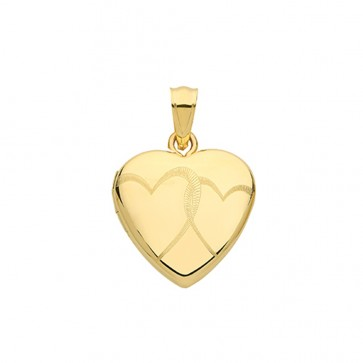 9ct Gold Heart Engraved Heart Locket On A Belcher Necklace