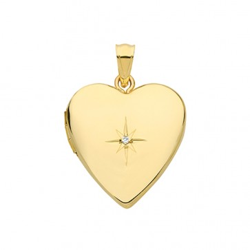 Children's 9ct Gold Single Diamond Heart Locket On A Prince of Wales Necklace