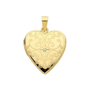 Children's 9ct Gold Full Engraved Single Diamond Heart Locket On A Prince of Wales Necklace