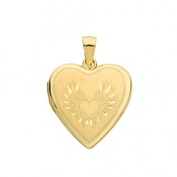 Men's 9ct Gold Angle Wings Engraved Heart Locket On A Curb Necklace
