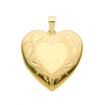 Men's 9ct Gold Fancy Engraved Edge Heart Locket On A Curb Necklace