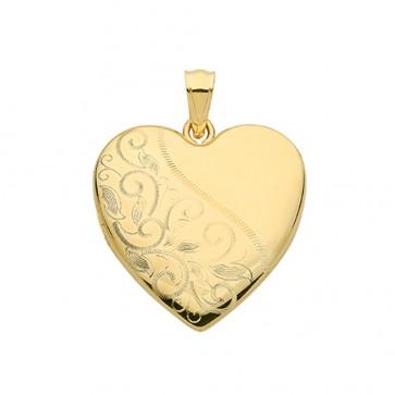 Men's 9ct Gold Fancy Half Leaf Engraved Heart Locket On A Curb Necklace