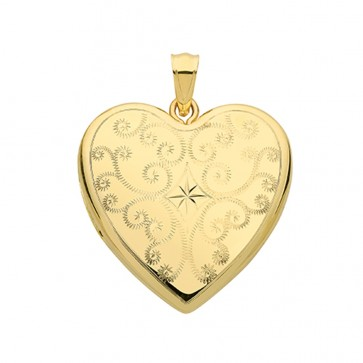 Children's 9ct Gold Fancy Star Patterned Heart Locket On A Prince of Wales Necklace