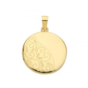 9ct Gold Half Engraved Round Locket On A Belcher Necklace