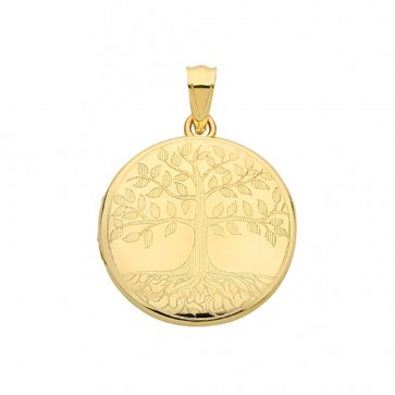 Children's 9ct Gold Tree Of Life Round Locket On A Prince of Wales Necklace