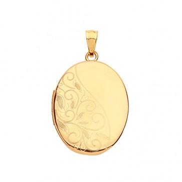 9ct Gold Elegant Half Patterned Engraved Oval Locket On A Belcher Necklace