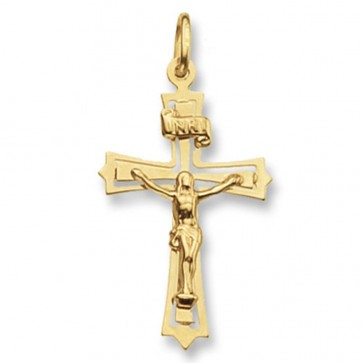 9ct Gold Flat Crucifix Pendant On A Belcher Necklace