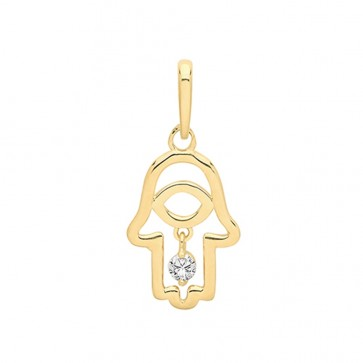 Children's 9ct Gold Hamsa With Dangle Cubic Zirconia Charm Pendant On A Prince of Wales Necklace