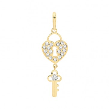 Children's 9ct Gold Cubic Zirconia Key and Heart Lock Pendant On A Prince of Wales Necklace