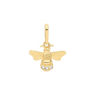 9ct Gold Cubic Zirconia Bee Pendant On A Belcher Necklace