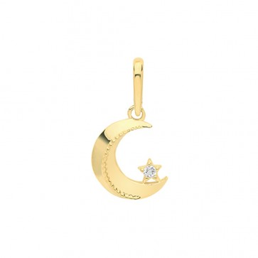9ct Gold Single Cubic Zirconia Moon and Star Pendant On A Belcher Necklace