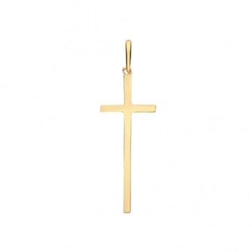 9ct Gold Solid Plain Cross Pendant On A Belcher Necklace
