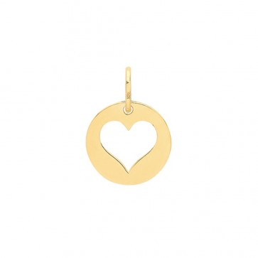 Children's 9ct Gold Plain Cut Out Heart Disk Pendant On A Prince of Wales Necklace
