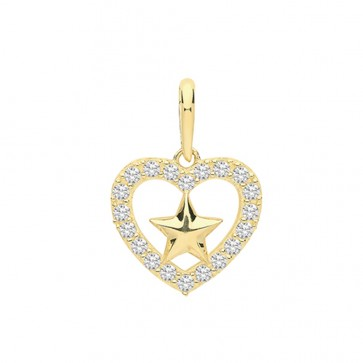 Men's 9ct Gold Cubic Zirconia Edge Heart With Star Pendant On A Curb Necklace