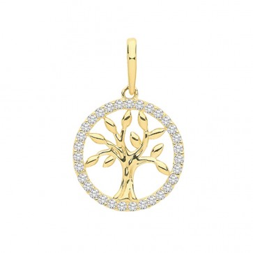 Men's 9ct Gold Round Cubic Zirconia Edge Tree Of Life Pendant On A Curb Necklace