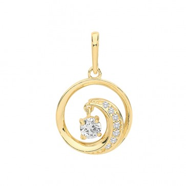 Children's 9ct Gold Cubic Zirconia Wave With Charm Pendant On A Prince of Wales Necklace