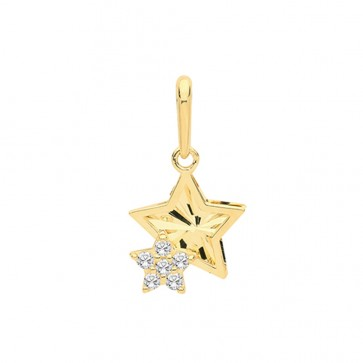 9ct Gold Cubic Zirconia Double Star Pendant On A Belcher Necklace