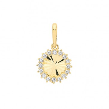 Children's 9ct Gold Cubic Zirconia Fancy Round Pendant On A Prince of Wales Necklace