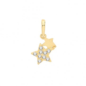 Men's 9ct Gold Cubic Zirconia Fancy Double Star Pendant On A Curb Necklace
