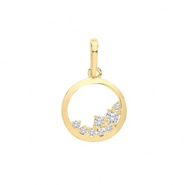 9ct Gold Fancy Cubic Zirconia Circle Pendant On A Belcher Necklace