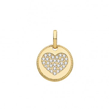 9ct Gold Small Cubic Zirconia Heart Fancy Edge Round Pendant On A Belcher Necklace