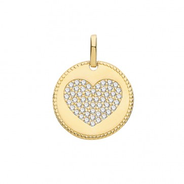 Men's 9ct Gold Large Cubic Zirconia Heart Fancy Edge Round Pendant On A Curb Necklace