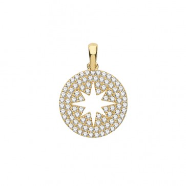 Men's 9ct Gold Cubic Zirconia Round Star Pendant On A Curb Necklace