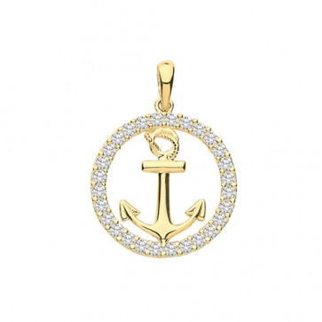 Men's 9ct Gold Cubic Zirconia Edge Round Anchor Pendant On A Curb Necklace