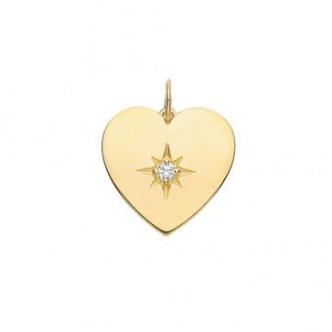 9ct Gold Medium Cubic Zirconia Single Stone Heart Pendant On A Belcher Necklace