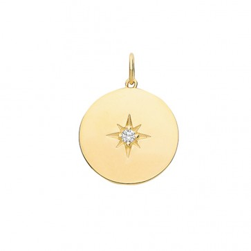9ct Gold Small Cubic Zirconia Single Stone Disk Pendant On A Belcher Necklace
