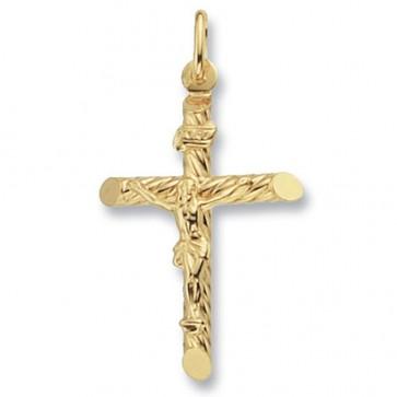 Men's 9ct Gold Fancy Tubular Crucifix Pendant On A Curb Necklace