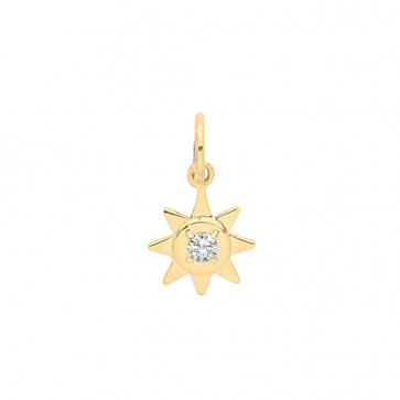 Men's 9ct Gold Single Cubic Zirconia Set Star Pendant On A Curb Necklace