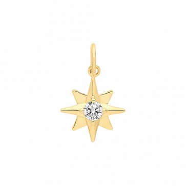 Children's 9ct Gold Cubic Zirconia Set Star Pendant On A Prince of Wales Necklace