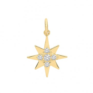 9ct Gold Cubic Zirconia Star Pendant On A Belcher Necklace