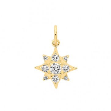 Men's 9ct Gold Multi Cubic Zirconia Set Star Pendant On A Curb Necklace