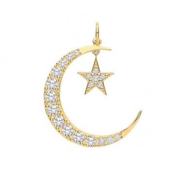 9ct Gold Cubic Zirconia Encrusted Moon and Star Pendant On A Belcher Necklace