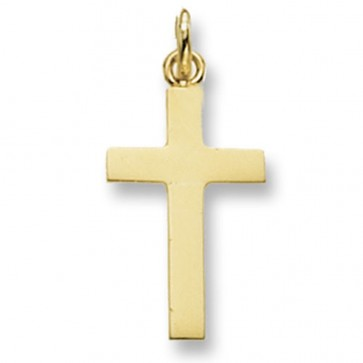 9ct Gold Flat Plain Cross Pendant On A Belcher Necklace