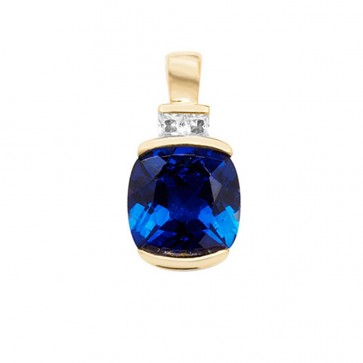 9ct Gold Created Sapphire and White Sapphire Cushion Pendant On A Belcher Necklace