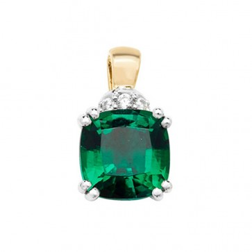 Men's 9ct Gold Created Emerald and White Sapphire Claw Set Cushion Pendant On A Curb Necklace