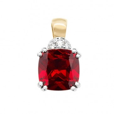 Men's 9ct Gold Created Ruby and White Sapphire Claw Set Cushion Pendant On A Curb Necklace