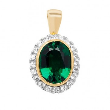 Children's 9ct Gold Created Emerald and White Sapphire Oval Pendant On A Prince of Wales Necklace