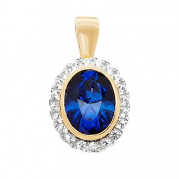 Men's 9ct Gold Created Sapphire and White Sapphire Oval Pendant On A Curb Necklace