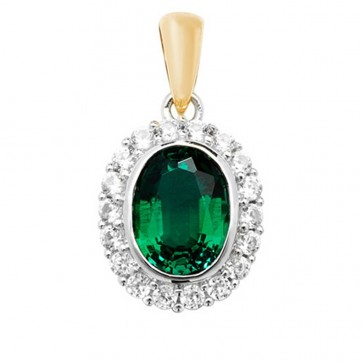 9ct Gold Created Emerald and White Sapphire Edge Oval Pendant On A Belcher Necklace