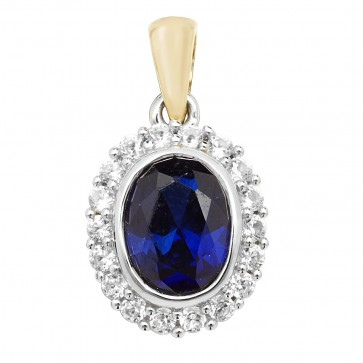 Men's 9ct Gold Created Sapphire and White Sapphire Edge Oval Pendant On A Curb Necklace