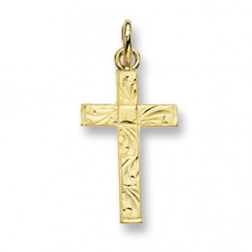 Men's 9ct Gold Flat Engraved Cross Pendant On A Curb Necklace