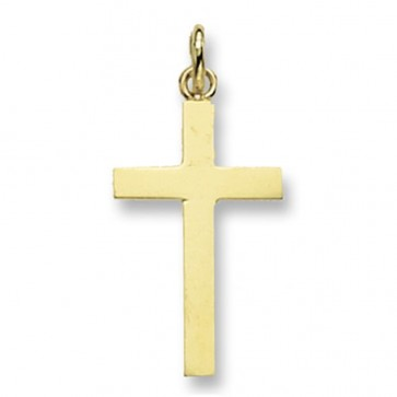 9ct Gold Flat Plain Cross Pendant On A Belcher Necklace